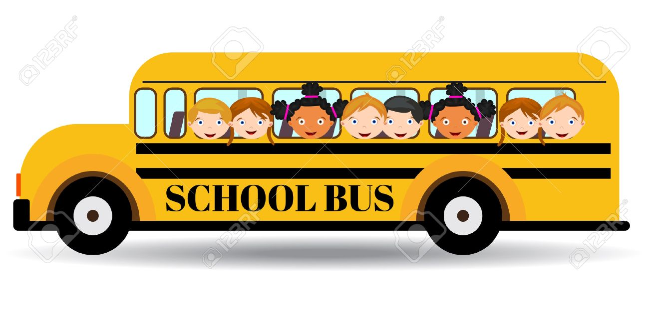 43500189 school bus kids riding on school bus